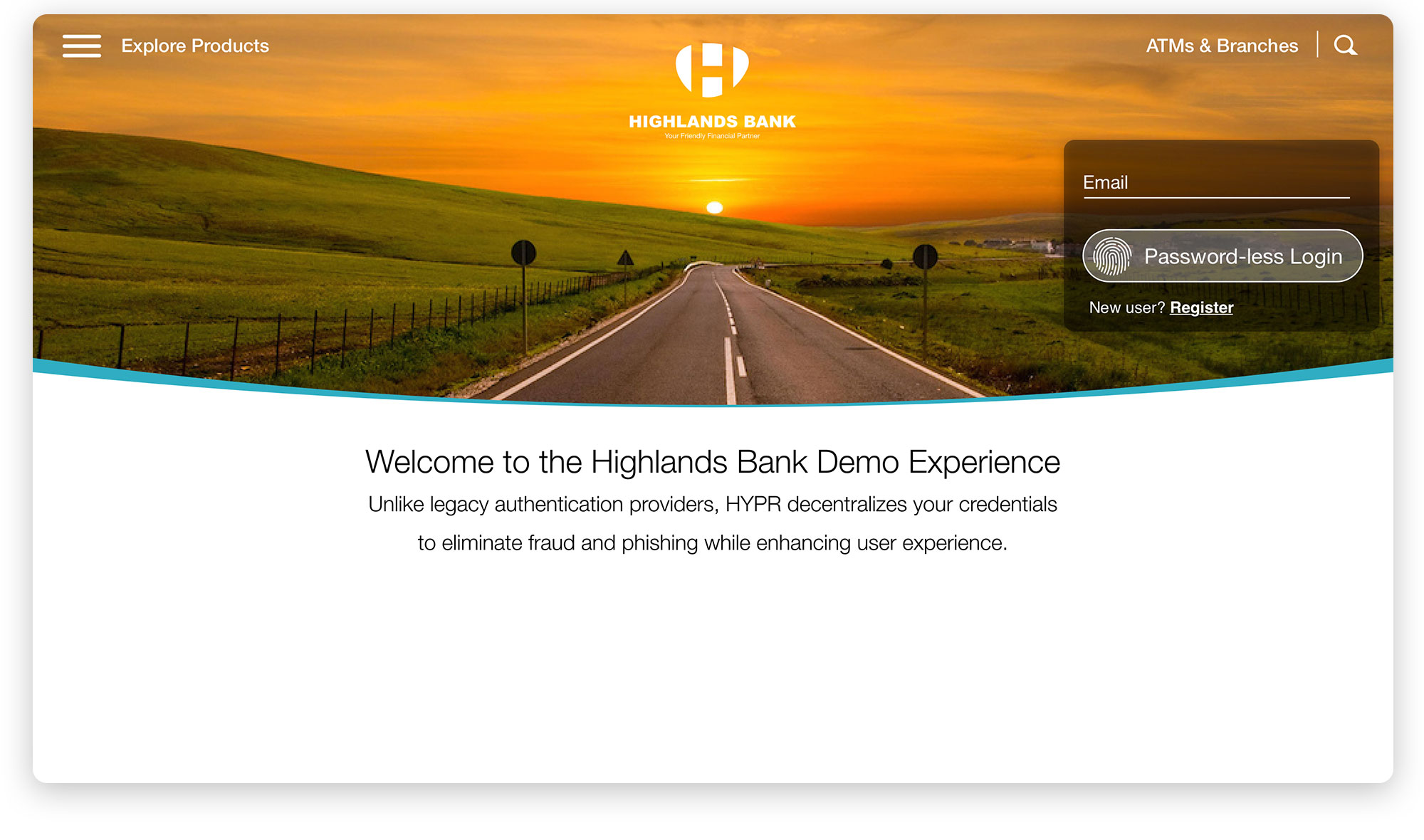 Highlands Bank FIDO Demo Login 3