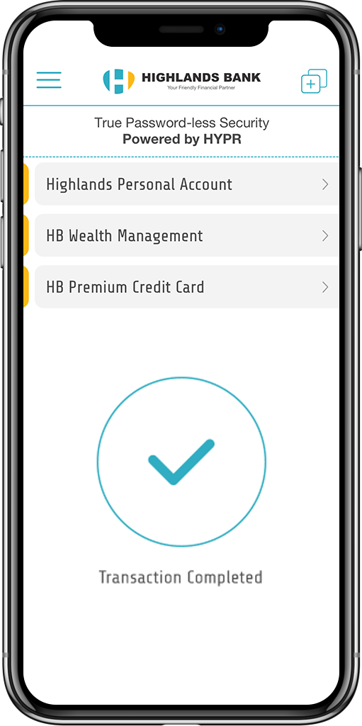 HYPR Mobile Client Highlands Bank Account Screen