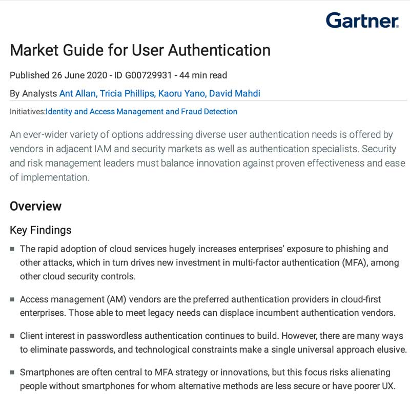 Gartner 2020 Market Guide for User Authentication