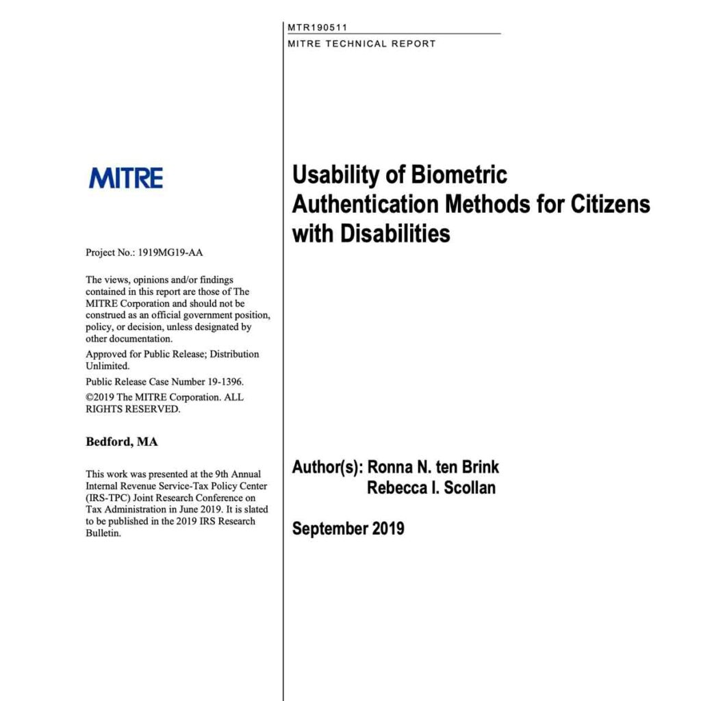 MITRE Usability of Biometric Authentication Methods for Citizens with Disabilities